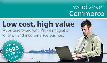 wordserver Commerce > e300 | website software for small and medium sized businesses > Low cost website software package with PayPal integration from £340 (exc. VAT) set-up and hosted the first 12 months! £120 (exc. VAT) per year thereafter - just £10 per month.